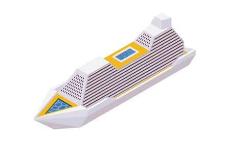 Isometric 3d cruise liner isolated on white background.
