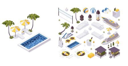Isometric 3d objects collection good for vacation trip and travelling. Sunbed, pool, palms and more.