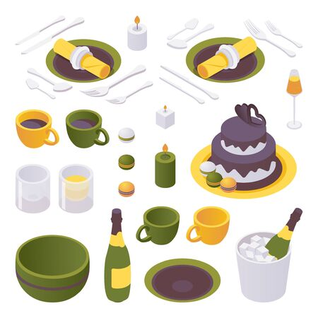 Isometric set of items for a birthday celebration table. Crockery and tableware isolated on white background.