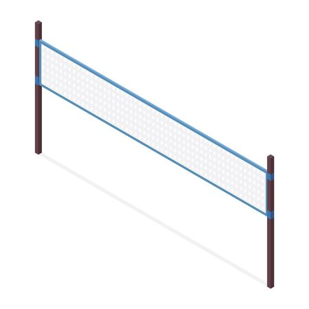 Beach volleyball net isolated on white background. Vector isometric object good for sport illustration.
