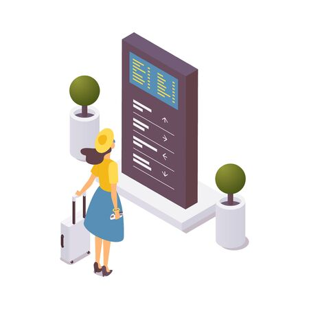 Young woman standing in front of information stand at airport. Isometric 3d concept illustration good for navigation of tourists and passengers.