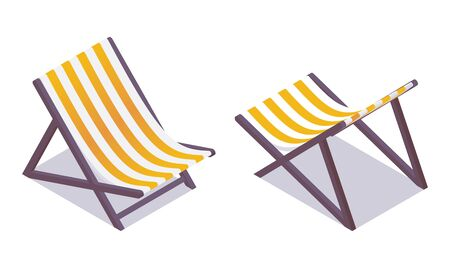 Beach chair isometric in various foreshortening isolated on white. Yellow and white fabric stripes