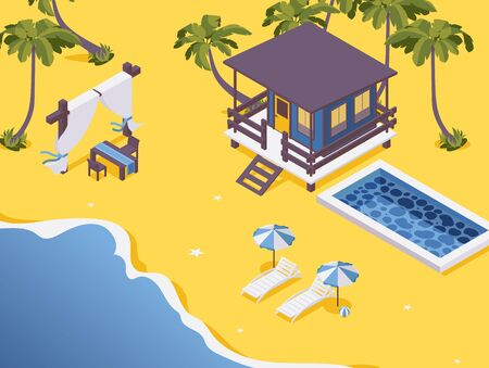 Isometric bungalow with pool and dining table on the sea beach scene.