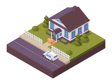 Isometric contactless product delivery, online orders. Scene with townhouse, car and boxes near porch. Vektorové ilustrace
