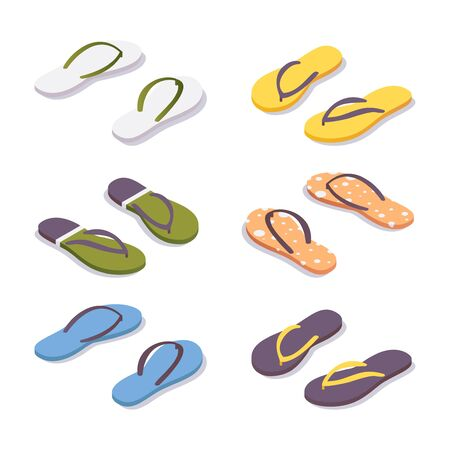 Isometric set of flip flops in various colors. Illustration