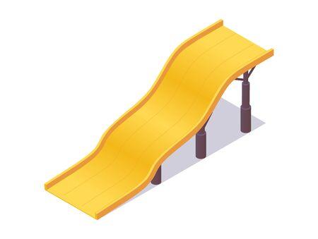Yellow waterslide isometric good for aquapark construction. Vector illustration.