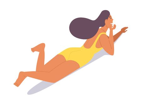 Sunbathing tanned girl in a yellow swimsuit lies near the pool, sea, on the roof of the house. Isometric character isolated on white.