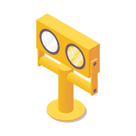 Isometric runway guard lights. 3d airport security system element
