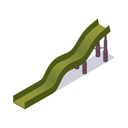 Green water slide isometric. Vector 3d element of aquapark isolated on white.