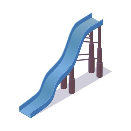 High steep blue water slide isometric with shadow. Vector object good for aqua park and summer vacation activities.