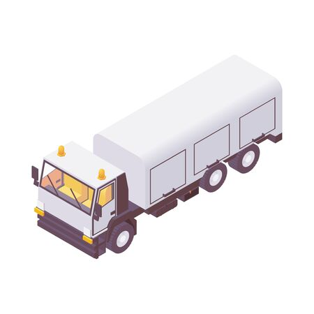 Isometric airport catering truck to carry and load containers with airline food for passengers
