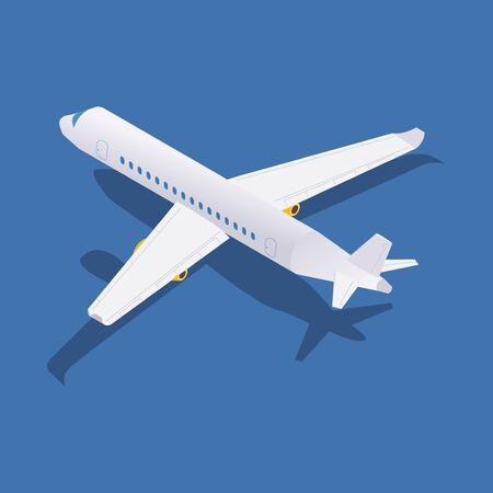 Isometric passenger aircraft back view with shadow. Vectores
