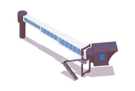 Isometric airport jetway bridge rigged isolated on white