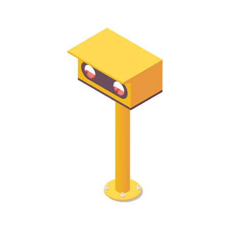 Isometric airport light spotting the PAPI, touchdown zone lights. Illustration