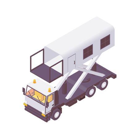 Isometric hi lift catering truck. ambulance lift. Иллюстрация