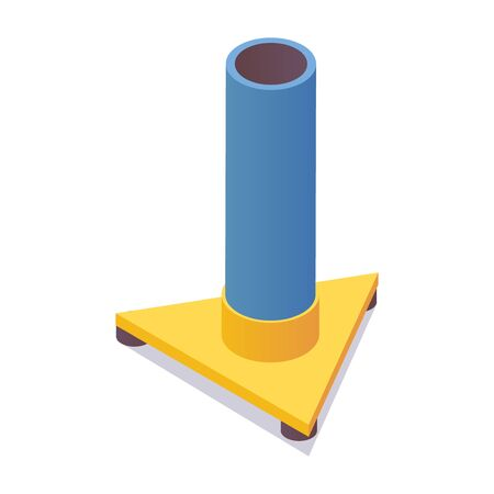 Airfield marker isometric. 3d illustration isolated on white. Blue heliport retroreflective runway taxiway object.