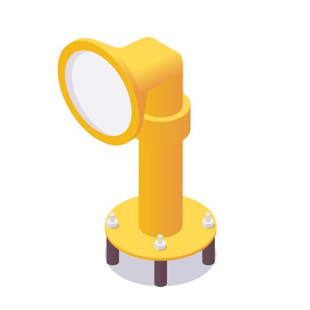 Isometric airport landing lights for landing in yellow color.
