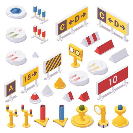 Isometric set of airport lights, taxiway signs, runway Guard, approach, touchdown zone and advanced airport light spotting.