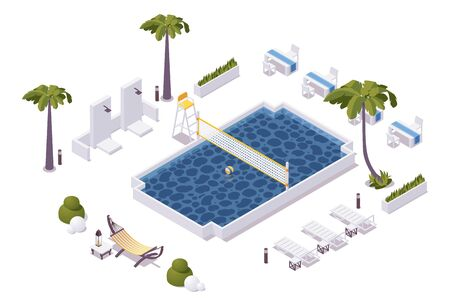 Isometric pool with water volleyball net in a hotel, aquapark, villa. Scene good for outdoor design. Banque d'images - 147821229