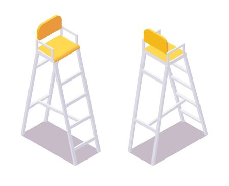 Isometric referee umpire chair volleyball, water polo, tennis, badminton
