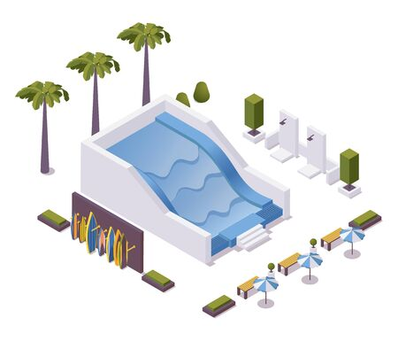 Wave pool for surfing training isometric scene. Vector concept illustration with boards stand, palms, outdoor showers and umbrellas.