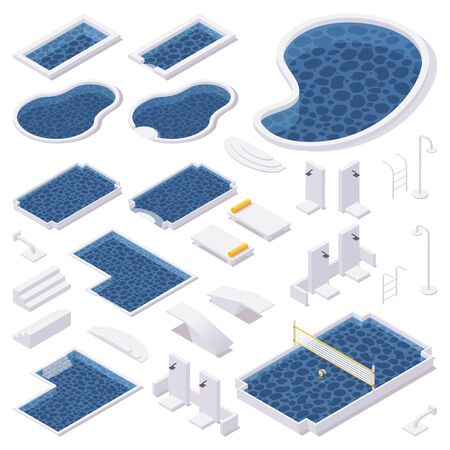 Isometric set of different types of pools, shower, deck chairs, springboards for the pool with water volleyball net.