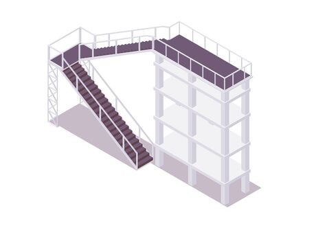 Isometric tower with stairs good for aqua park water slide attraction.