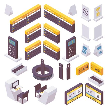 Isometric set of airport information desk, check-in desks and signs. Vectores