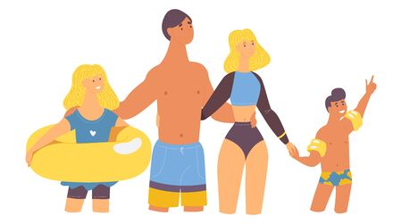 Happy family at vacation at tropics. Hugging and pointing at sky kids and adults isolated on white with inflatable ring in swimsuits and beachwear. Smiling characters.