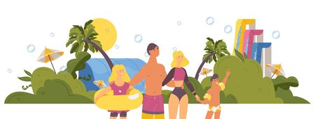 Happy family in aqua park during summer tropical day. Cartoon outdoor illustration with vibrant greenery and bubbles, water slides and palm trees.