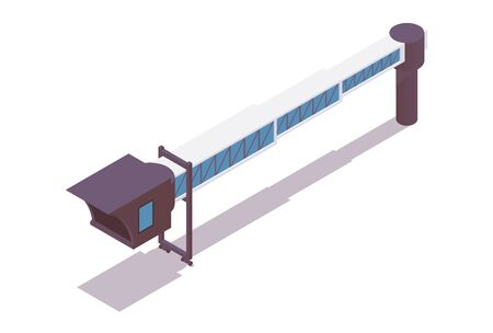 Jet bridge isometric. 3d concept illustration good for passengers airplanes, airport ground service and more.