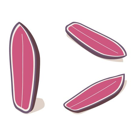 Isometric shortboard surfboard standing set, 3d lying pink water sport object in various foreshortening