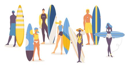 Set of happy young people of different nationalities with surfboards.  イラスト・ベクター素材