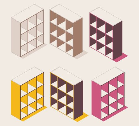 Isometric colorful outline shelf cabinet for documents, flowers, folders in pink and yellow.