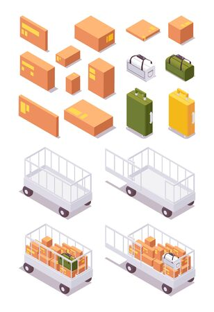 Isometric set airport luggage trolley for parcels, cargo, baggage to aircraft with boxes and bags of different type. Illustration