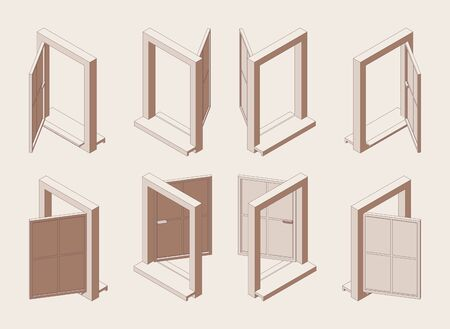 Isometric outline open window with sill isolated on background.