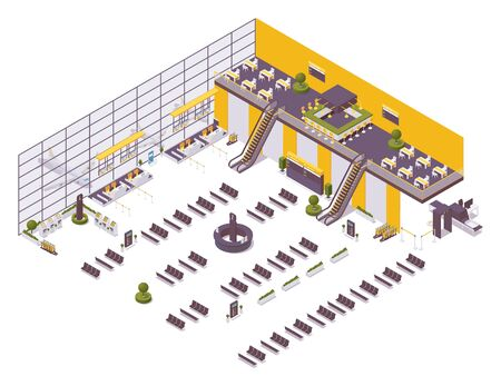 Isometric airport design example, arrival and departure zone, waiting area. With a cafe, chairs, benches, an excavator, self check-in desks and an inspection area. Ilustración de vector