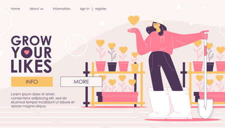 Landing page for girl who grows likes and hearts in pots. Concept banner for popular blog and vlog web site. Ilustrace