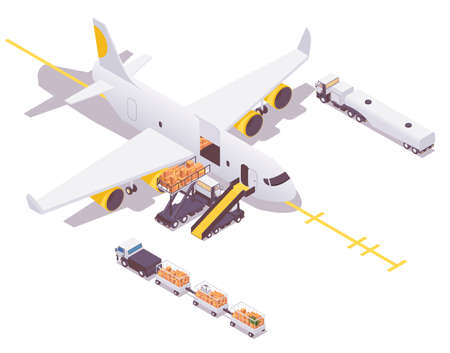 Isometric airplane in the parking lot preparing for departure. Loading cargo and baggage, airplane ground service cars around. Concept scene