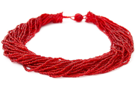 Red, Beaded, Handmade African Necklace Isolated on White photo