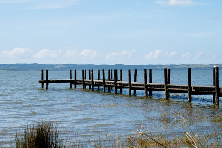 st lucia: Wooden Pier over St Lucia Lake, South Africa
