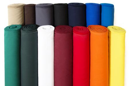 Meerdere Rollen van kleurrijke stof die op Witte Achtergrond