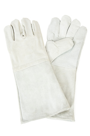 both sides: Pair of White Leather Safety Gloves, Isolated on White Background