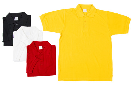 informal clothes: Golf Shirts Grouped Together Isolated on White Background Stock Photo
