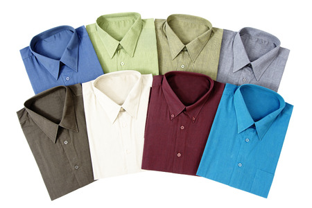Eight Colourful Men s Shirts Isolated on White Background