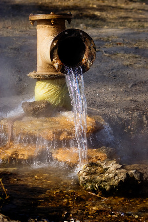 water spring: Hot Water Spring, Early Morning, Zambia, Africa