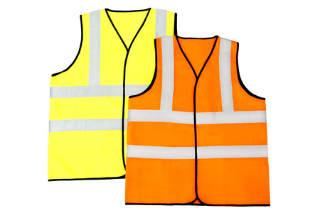 Yellow and Orange Reflector Vests, Isolated on White Background photo