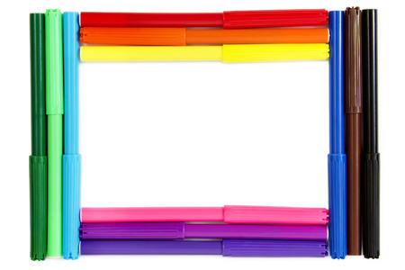 Colorful set of Pens, Arranged in a Frame, Isolated on White photo