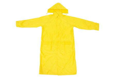 Yellow Waterproof Rain Coat, Isolated on White Background Foto de archivo
