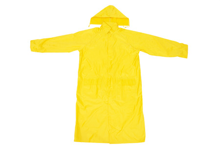 Yellow Waterproof Rain Coat, Isolated on White Background Stock Photo